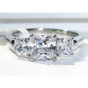 STAINLESS STEEL Princess Cut 3 Stone AAA CZ Ring